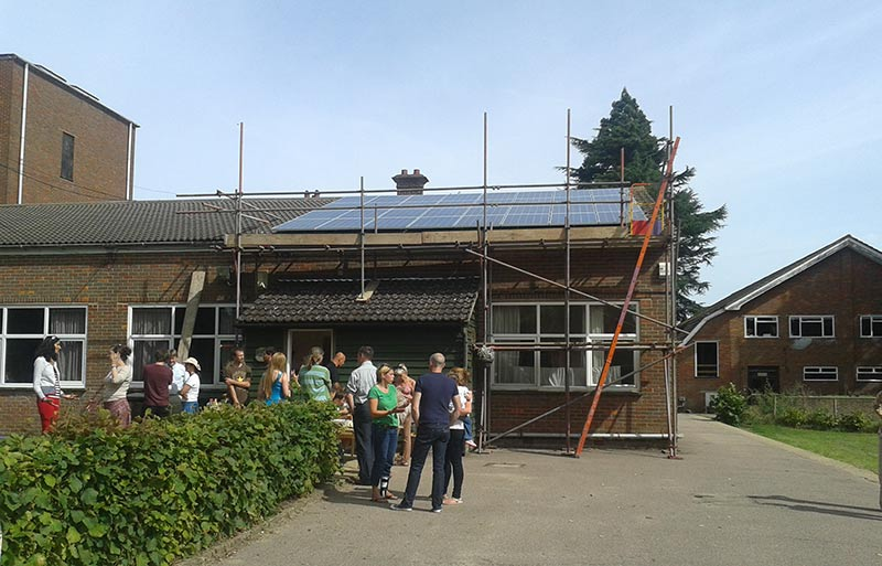 Grand Union Community Energy install their first set of solar panels on a local school. Photo: John Ingleby
