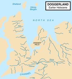 Doggerland 9,000 years ago, before it was cut adrift. Image: Max Naylor. Creative Commons