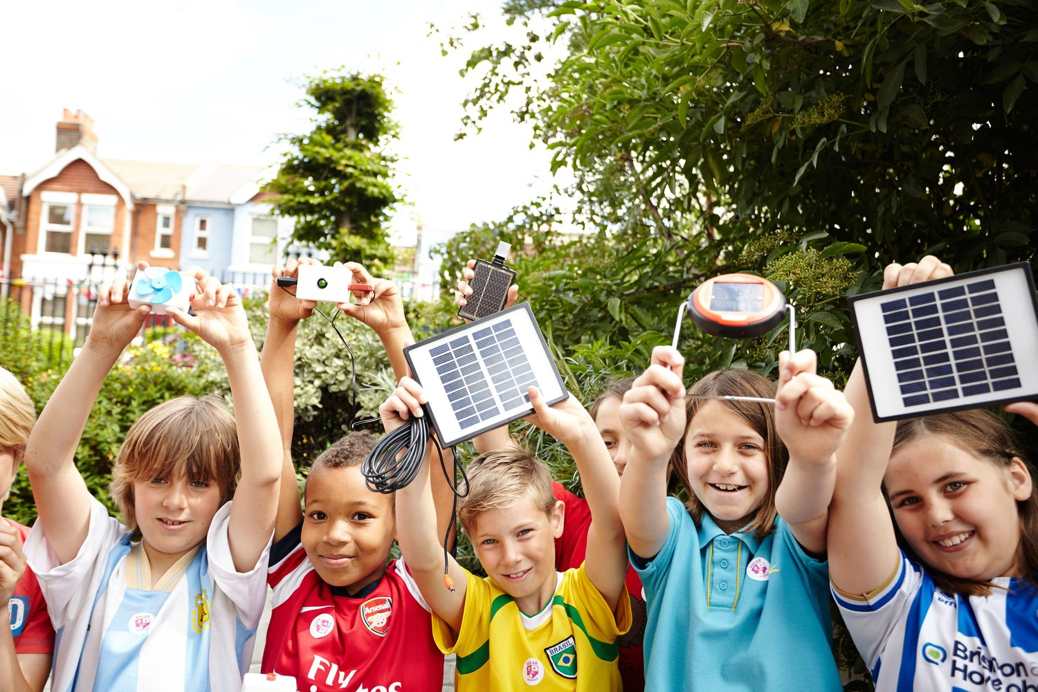 Children with solar panels
