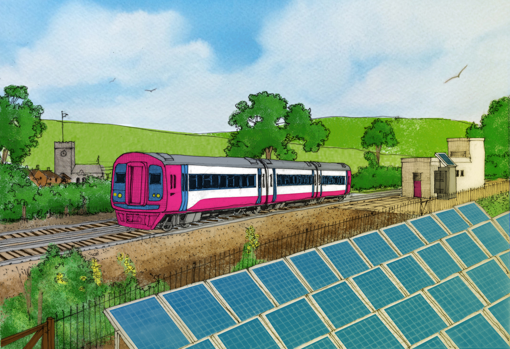 Riding sunbeams! We've invented a clever bit of tech that means you can plug solar panels directly into the railway to power trains.