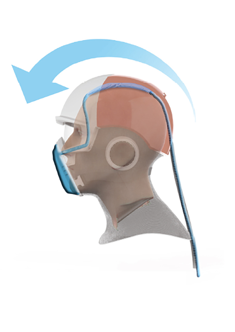 The airflow is directed over the top of the head to achieve a cooling effect.