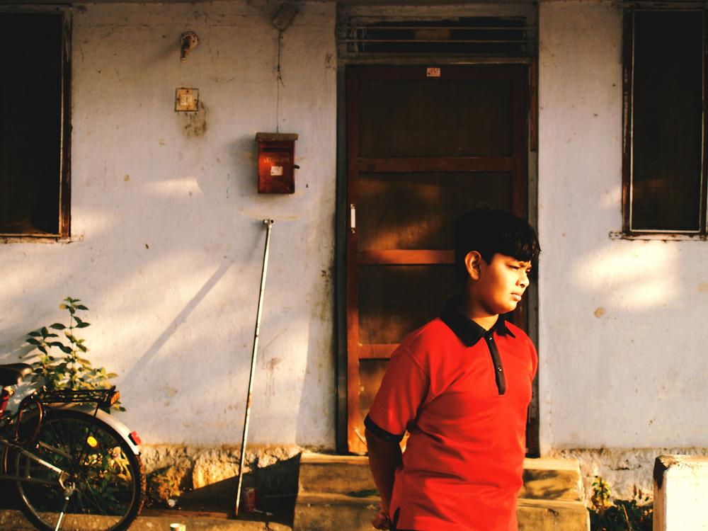 Indian kid sunset bike hyderabad india