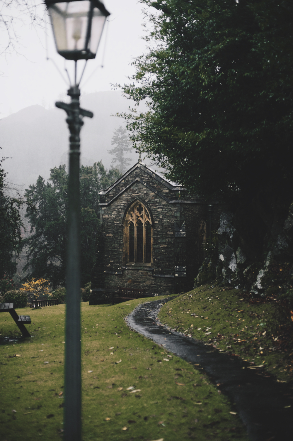 St. Mary's Church Rydal Hall Lake District rain