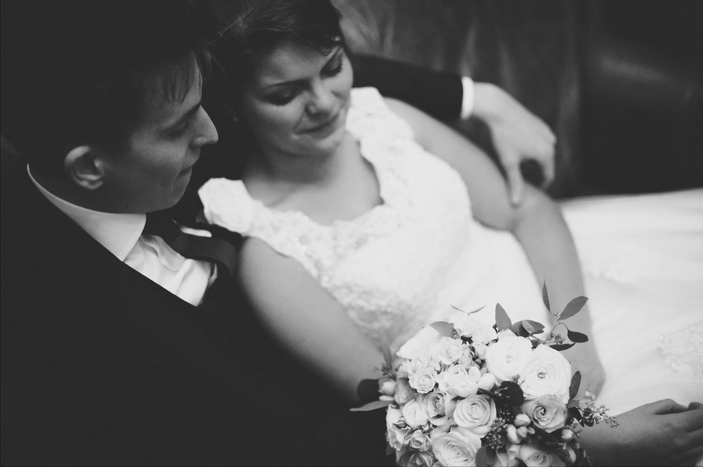 wedding couple rydal hall leather couch black and white