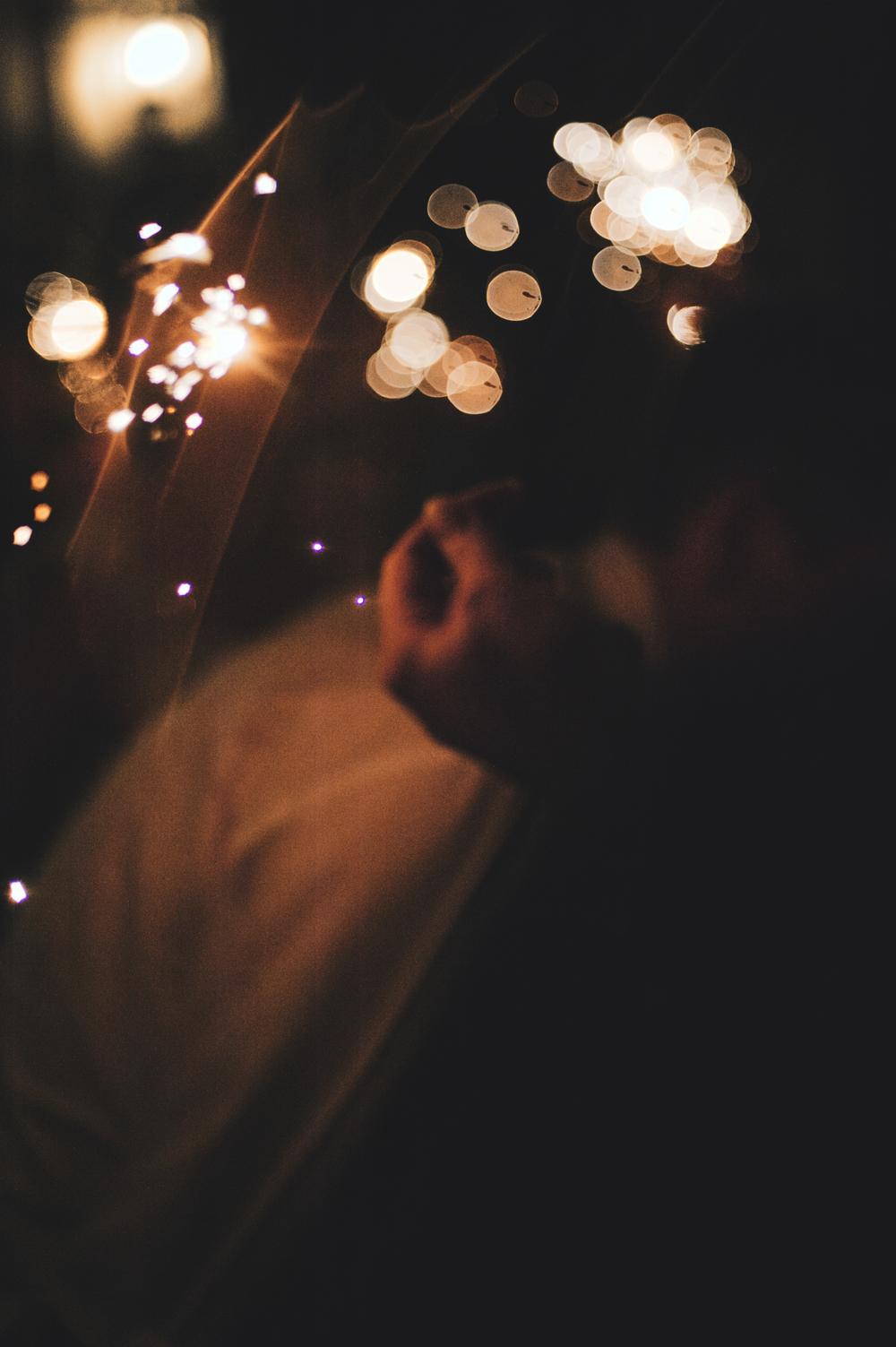 Wedding sparklers rain bokeh