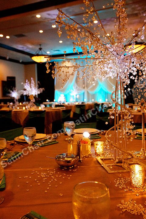 Crystal Tree with Mercury glass votives in silver. Event was held at Maggianos in Naperville. Pewter overlay with Black Spandex Chair covers and Aqua Blue sash with brooch accent. Criss Cross Backdrop with Tiffany Blue Lighting. SatinChair.com