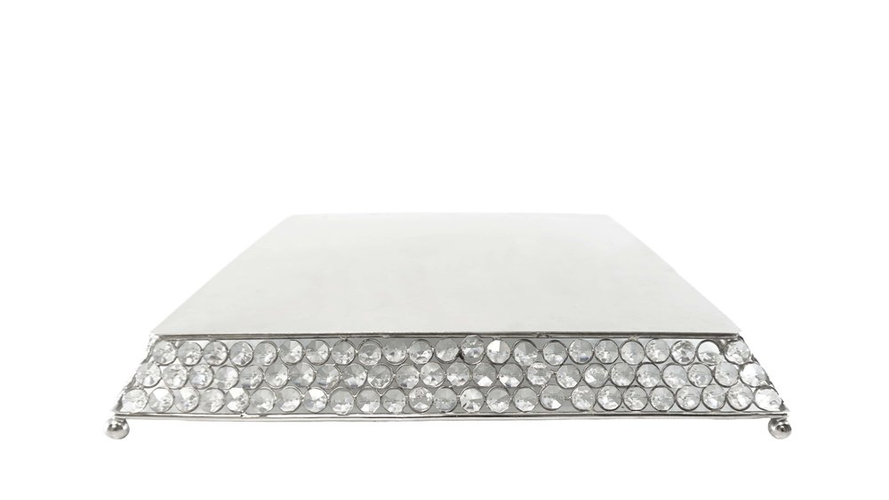 Silver Square Crystal Cake Stand