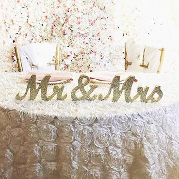 Large Gold Mr & Mrs Sign
