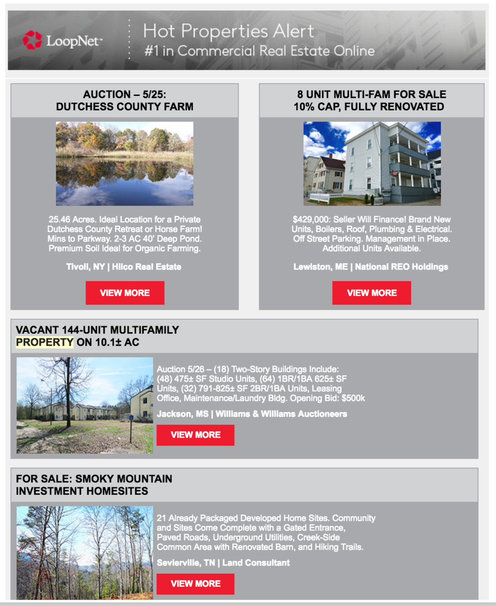 (Screenshot of a recent Hot Properties Bulletin.)