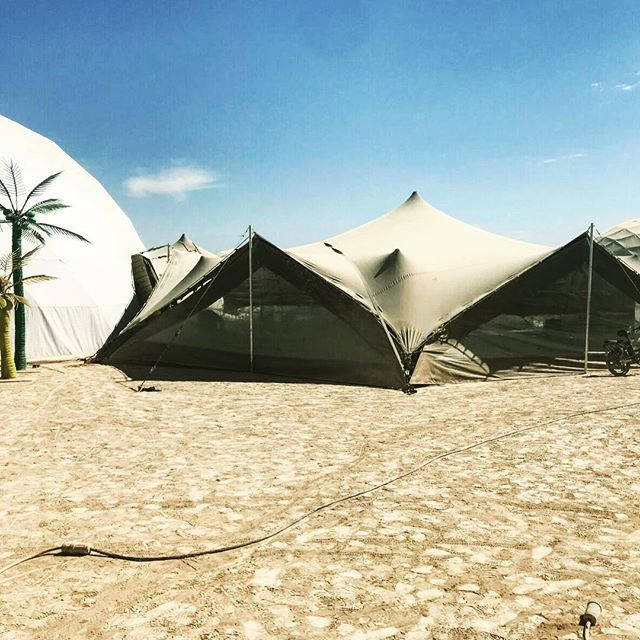 Burning Man 2018! Shady's new hexagon tents added to next year's inventory, first set up on the playa! . . . . . @burningman #burningman #burningman2018 #brc #blackrockcity #blackrockcity2018 #blackrockdesert #nevada #shadyspaces #stretchtent #versatility #atmosphere #festival #artfestival #musicfestival