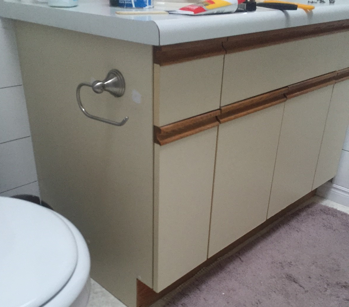 Bathroom Update How To Paint Laminate Cabinets The Penny Drawer