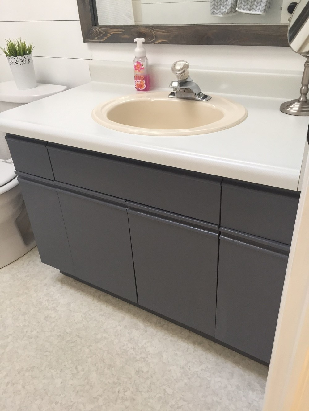 Bathroom Update How To Paint Laminate Cabinets The Penny Drawer - Painting bathroom vanity laminate