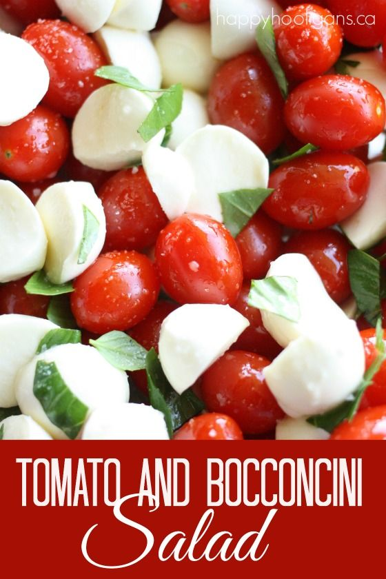 Simple cherry tomato and bocconcini salad screams Canada Day!