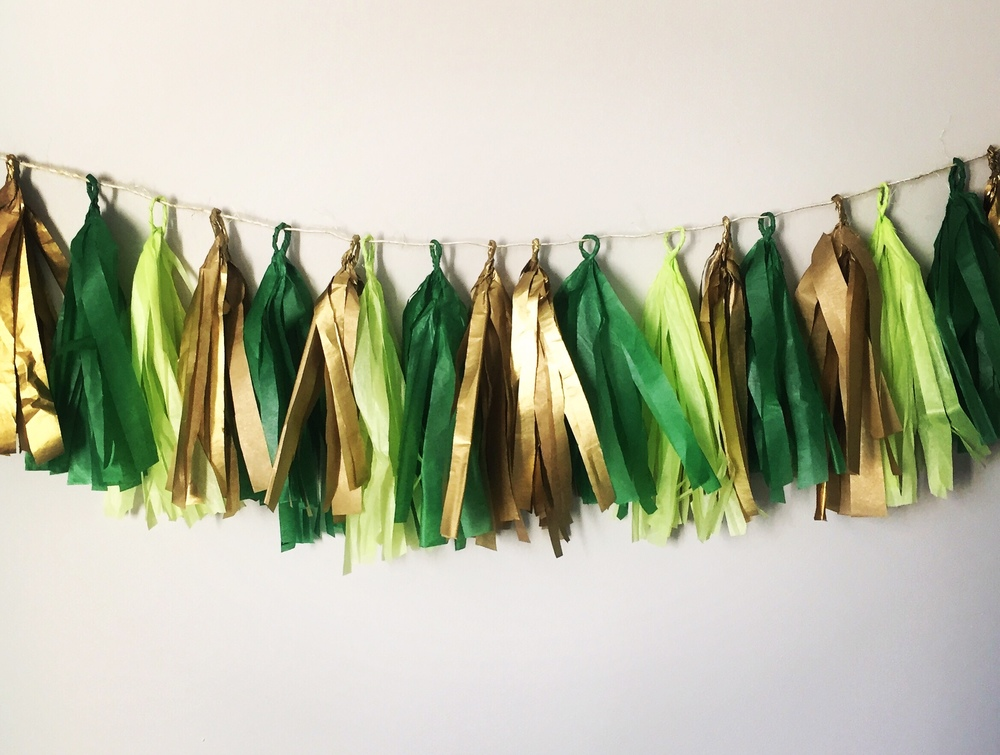 Tissue Paper Garland + St. Patricks Day Decor