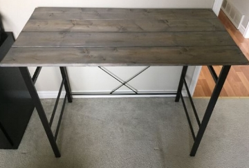 Industrial Inspired Desk + Wood Top