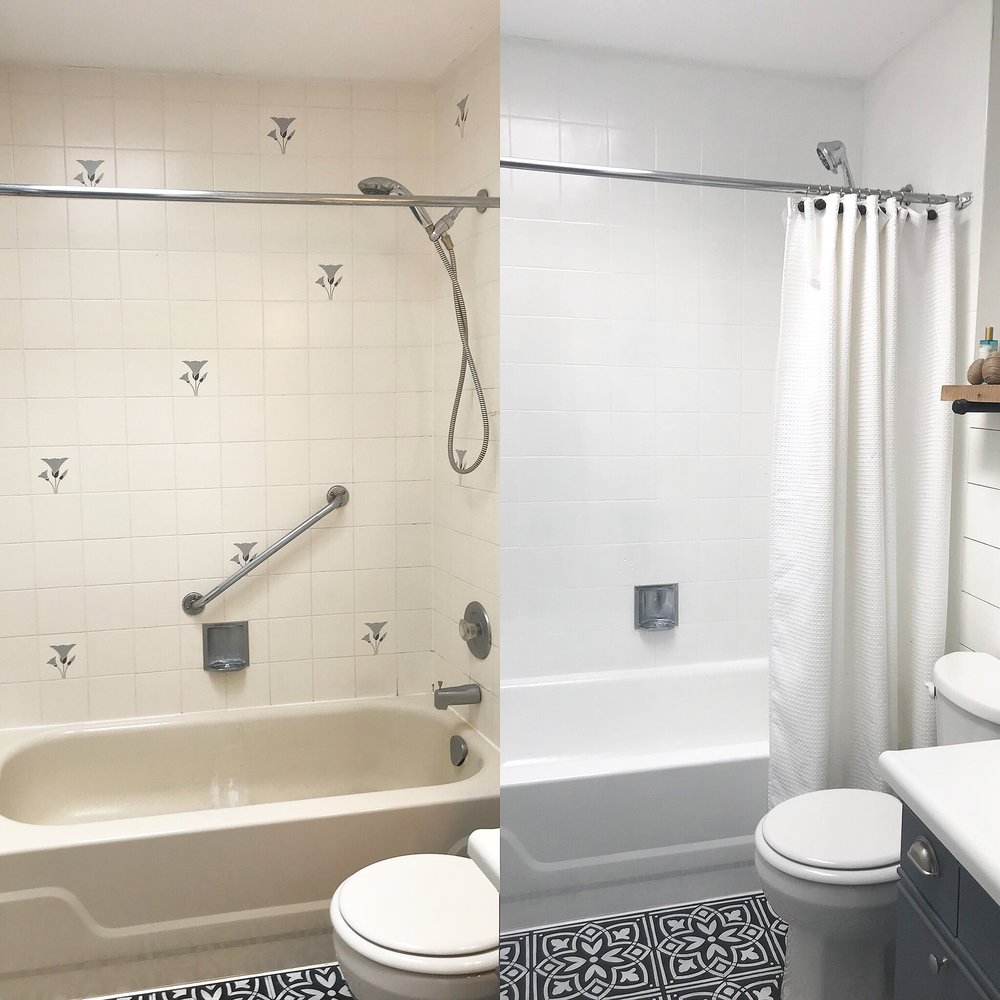Refinished Tub and Tilehttp://www.thepennydrawerblog.com/new-blog/2018/3/24/refinished-tub-tile