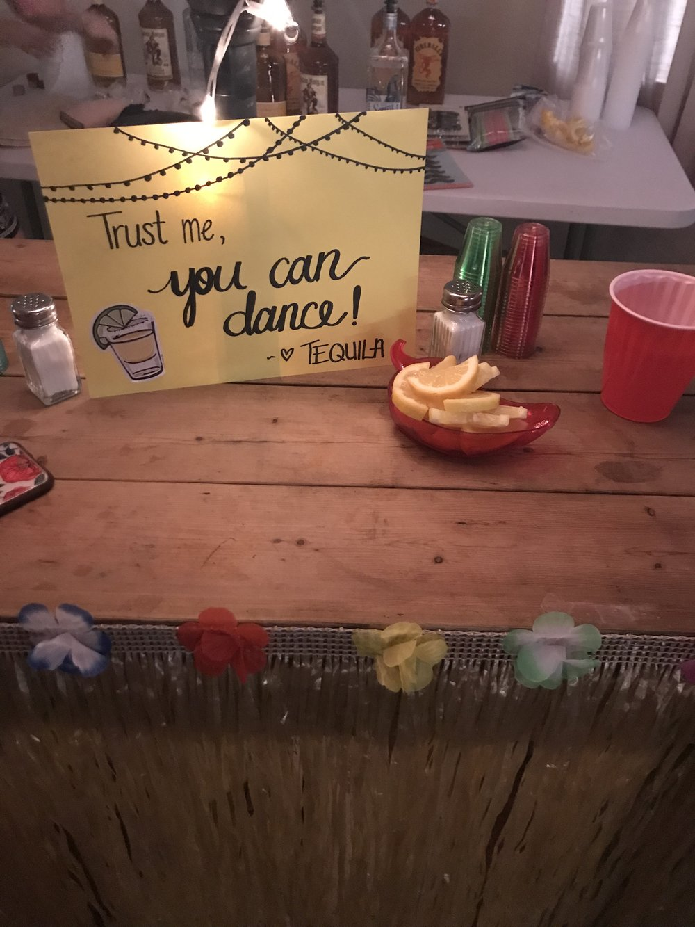 DIY sign for the shot bar