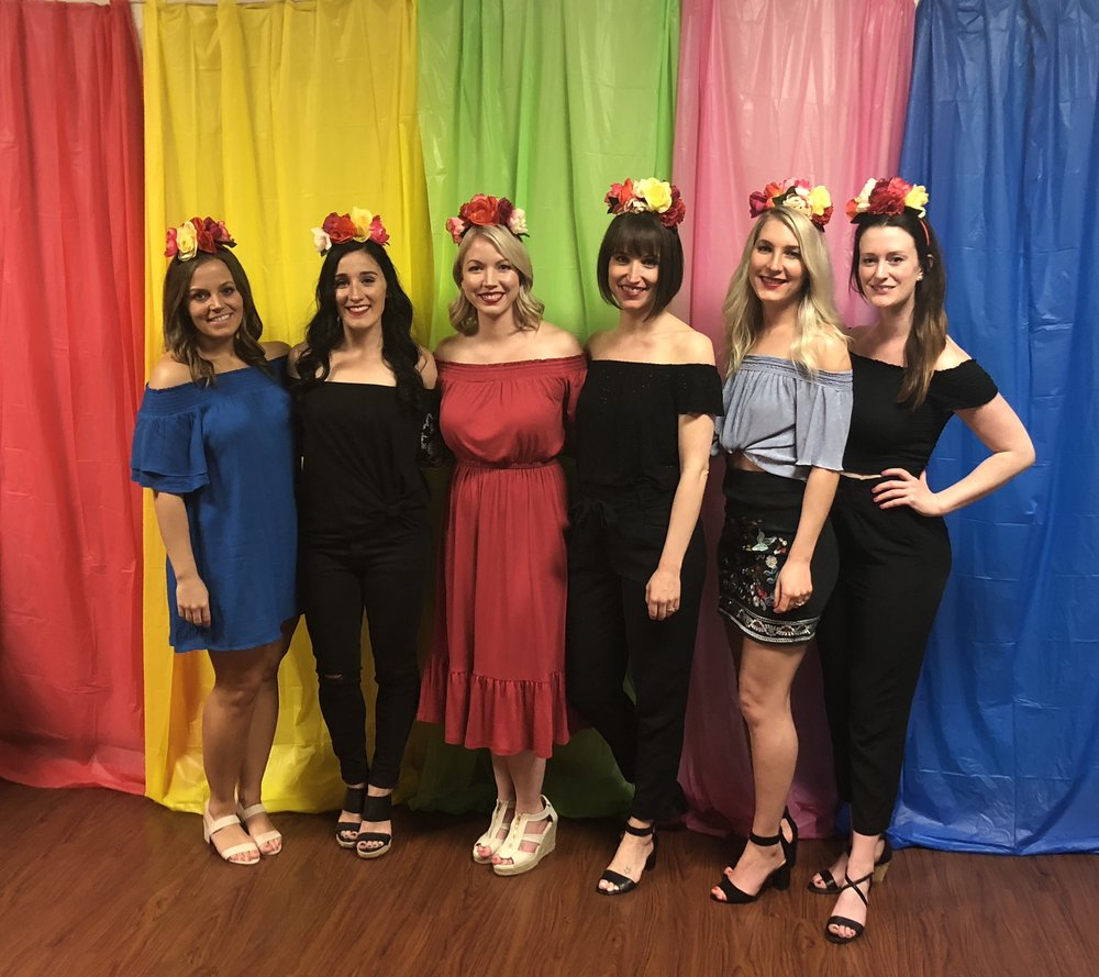 My beautiful bridesmaids !! I made our flower crowns with dollar store floral stems, hot glue and head bands :) I also made the backdrop using plastic table cloths strung on some twine.