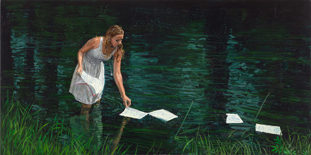 Floating Words, 2012, oil on linen, 100x200cm