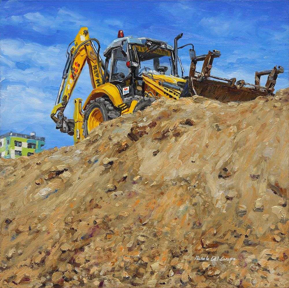 Excavator, 2014, oil on board, 40x40cm