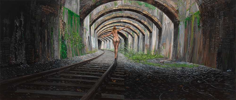 The Way to Darkness, 2011, oil on linen (triptych), 170 x 400 cm