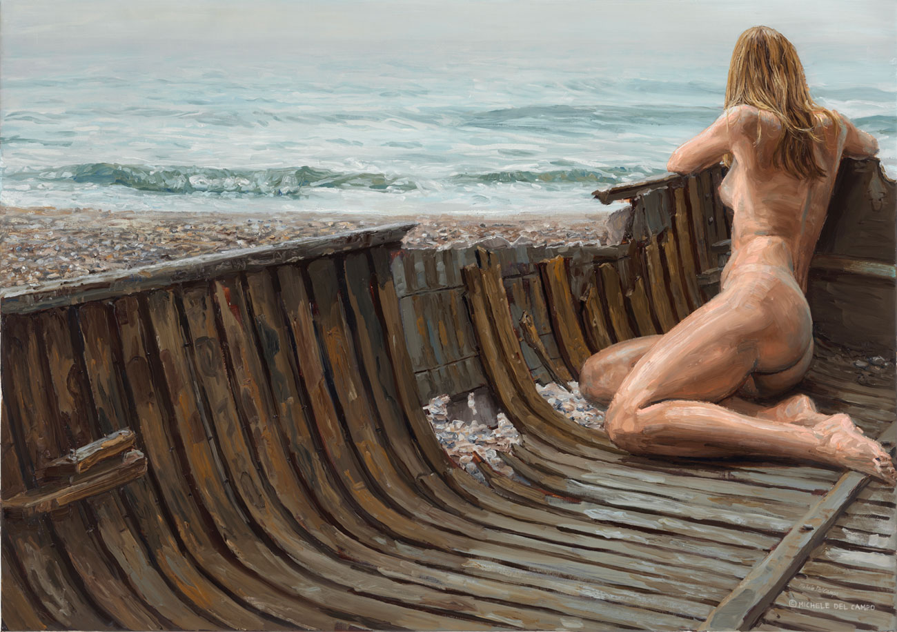 """La Barca Rotta"" (The broken boat), oil on linen, 114x162cm"