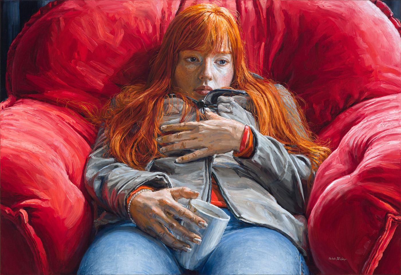 michele del campo, redhead,-89x130cm