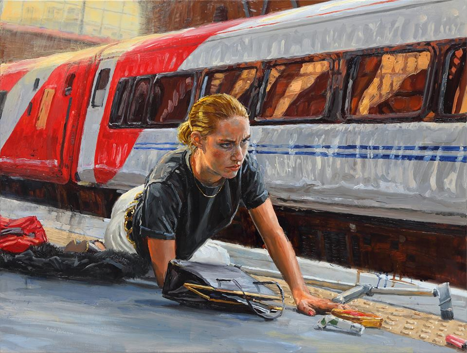 michele del campo, The Fall-Girl with Crutch, 65x85cm