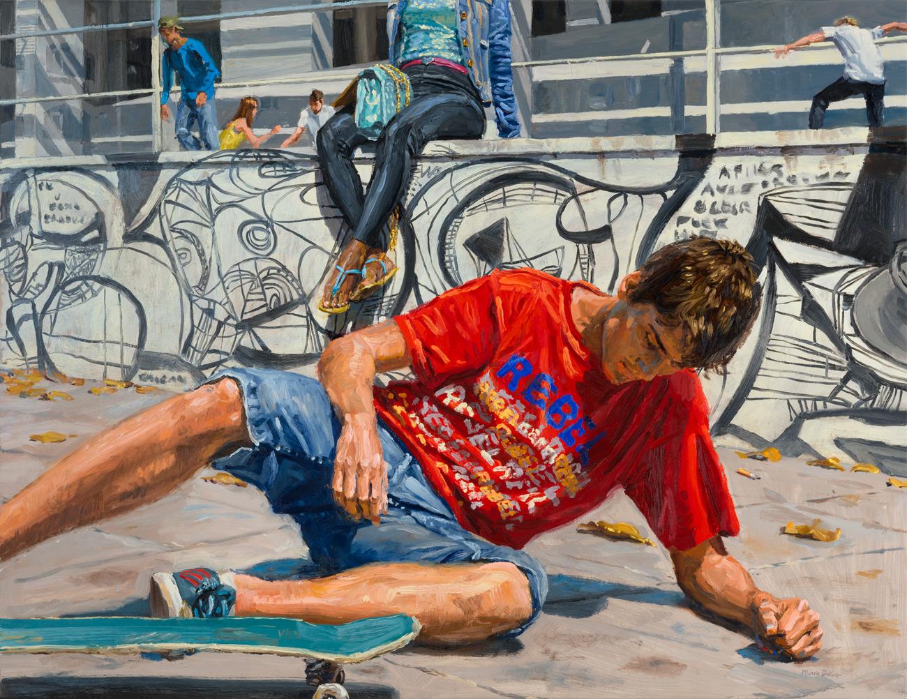 michele del campo, the fall- the skater, 65x85cm