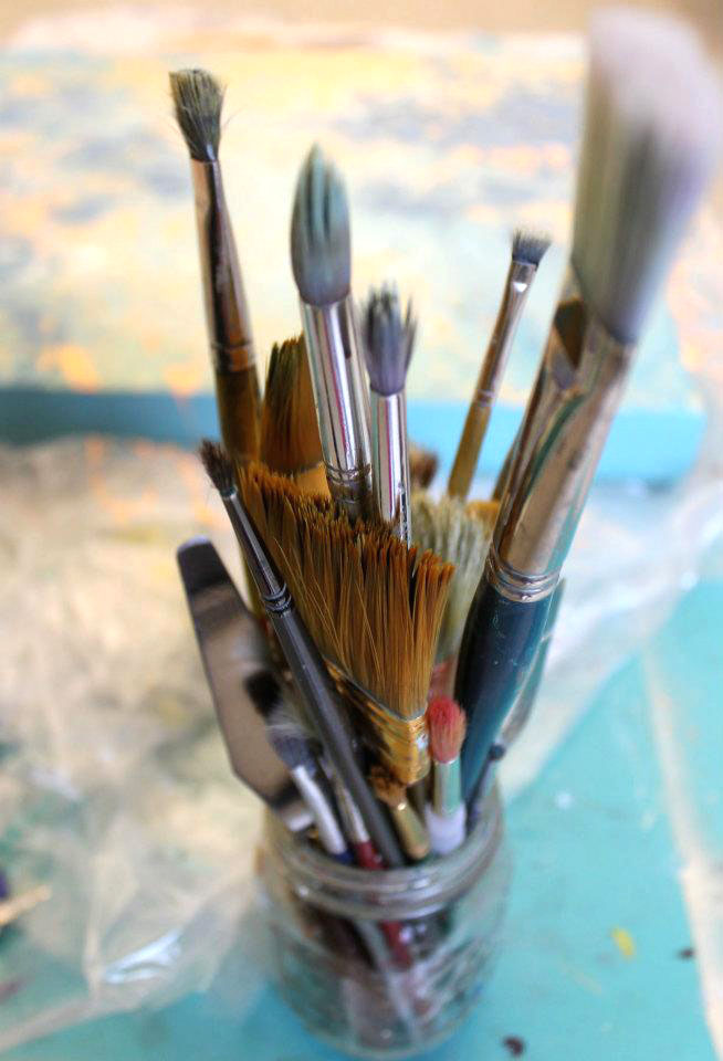 My mason jar FULL of brushes!   Photo by Allison Hauck