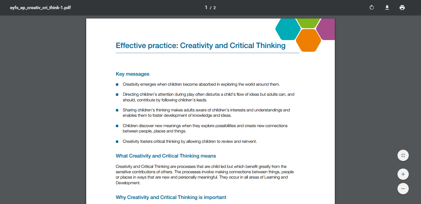 Effective Practice Creativity And Critical Thinking Earlyarts