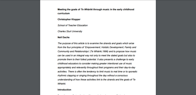 Music research earlyarts te whriki through music in the early childhood curriculum publicscrutiny Gallery