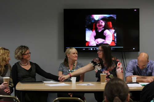 Lydia (on screen) and her Mum sharing the impacts of Ros and Mark's music on her daughter's life at the 2016 Wingbeats Conference.