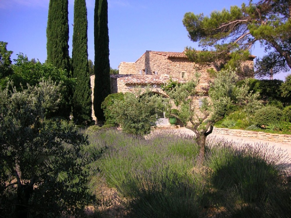 Typical stone Provencal Mas (Farmhouse) with lavender and cypress trees.