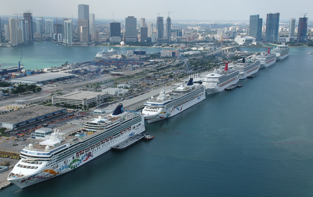 Cruise ships in Miami Harbor