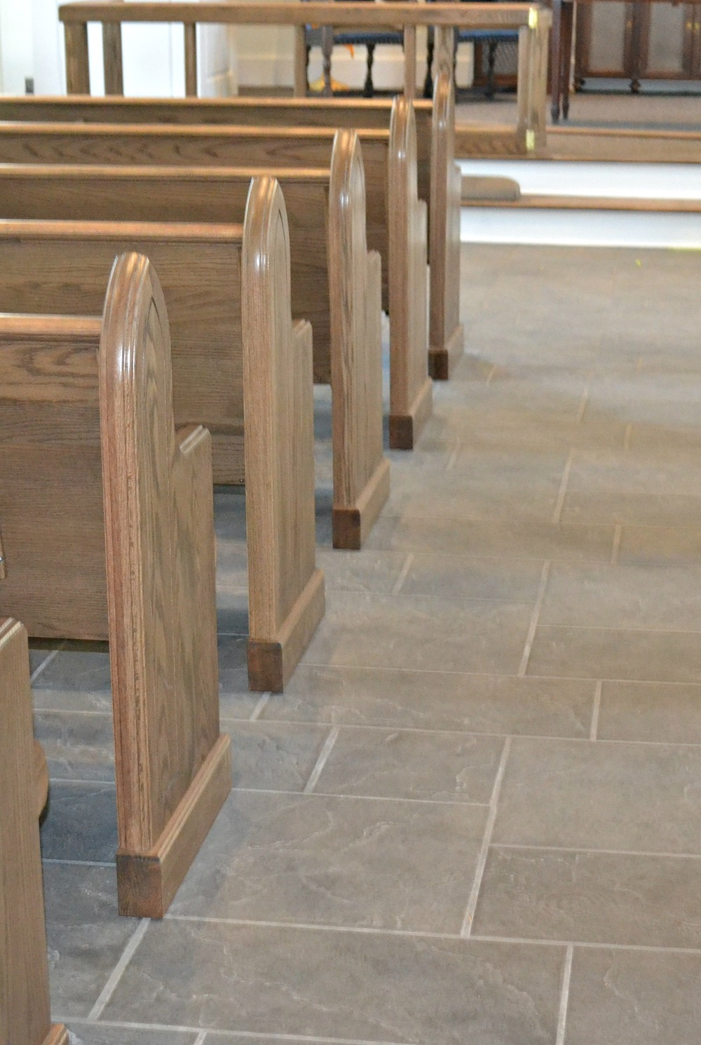 Chapel Floor tile pattern mimics original carriage house slate floor