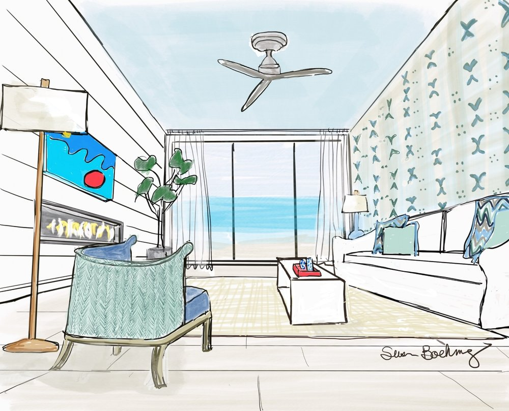 Oceanfront Condo designed (and painted)  by Elizabeth Brightfield
