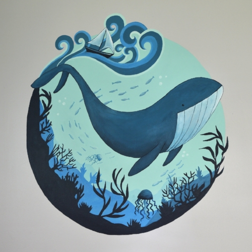 Whale Mural. Interior household paint and acrylic paint on wall.