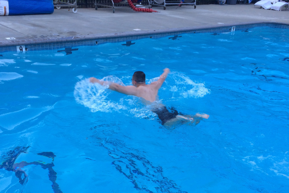 A swimmer with low hips using too much energy per stroke