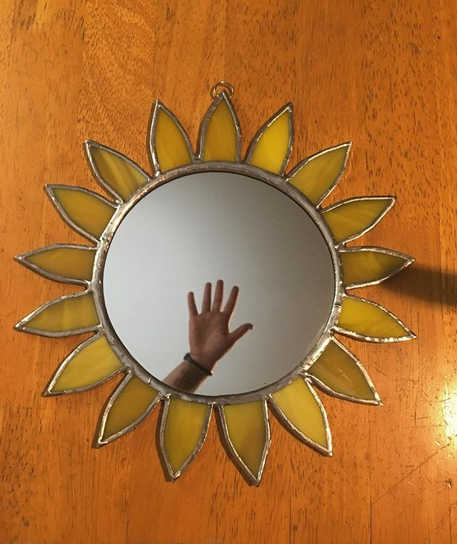 Big sunny mirror, 9 1/2 inches all around.  DM me if you are interested in buying this little cutie . . . . #stainedglass #mirror #supportartists #sun #sunflower #marthasvineyard