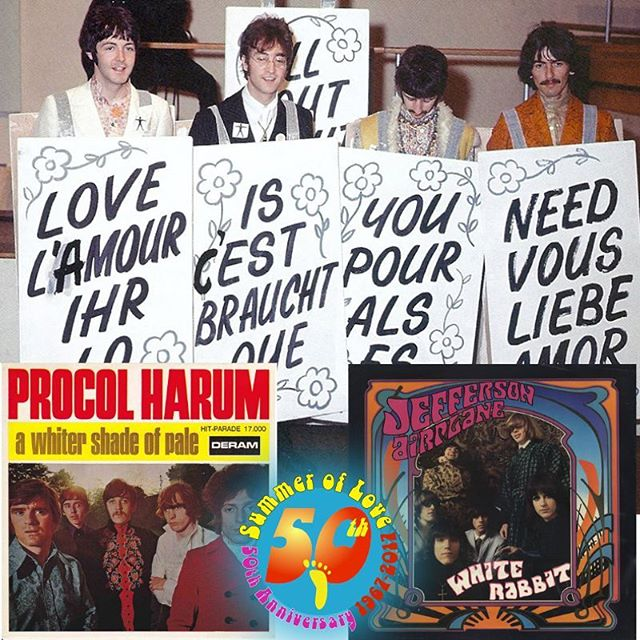 """What a week for music! Fifty years ago, the debut song """"A Whiter Shade of Pale"""" by #ProcolHarum was the number one song in the UK and eventually became the world's top hit. (It made it to #5 in the US, and also #22 on the US soul charts.) It's won a number of awards over the decades, and remains one of the enduring anthems of the #SummerofLove. When was the last time you heard it? Check out their original pre-MTV video online. """"White Rabbit"""" was released by #JeffersonAirplane this week 50 years ago, too, and became one of their top-10 hits. It was written by #GraceSlick while she was a member of The Great Society, but was included on Jefferson Airplane's #SurrealisticPillow when she joined the group. Its surreal Alice-in-Wonderland lyrics were a hit with the #counterculture scene in #SanFrancisco.  Finally, the #Beatles performed #AllYouNeedIsLove on #OurWorld, a live, international television broadcast—the first of its kind, and viewed by as many as 700 million people around the world.  Asked to perform a song with a positive message that would be easily understood, the group wrote it during the height of the Viet Nam war, and its message is loud and clear. Their performance closed the broadcast but the song wasn't released until the next month.  To learn more about the Summer of Love, #FeedYourHead on a fun- and fact-filled walking tour with FOOT!  FOOTtours.com  #ThisDayInHistory #walkingtours #SummerofLove50 #history #Psychedelic60s#MakeLoveNotWar#FlowerPower #PsychedelicMusic #music #rock #peace  #love #Hippies #Psychedelic60s #Psychedelic #WhiteRabbit"""