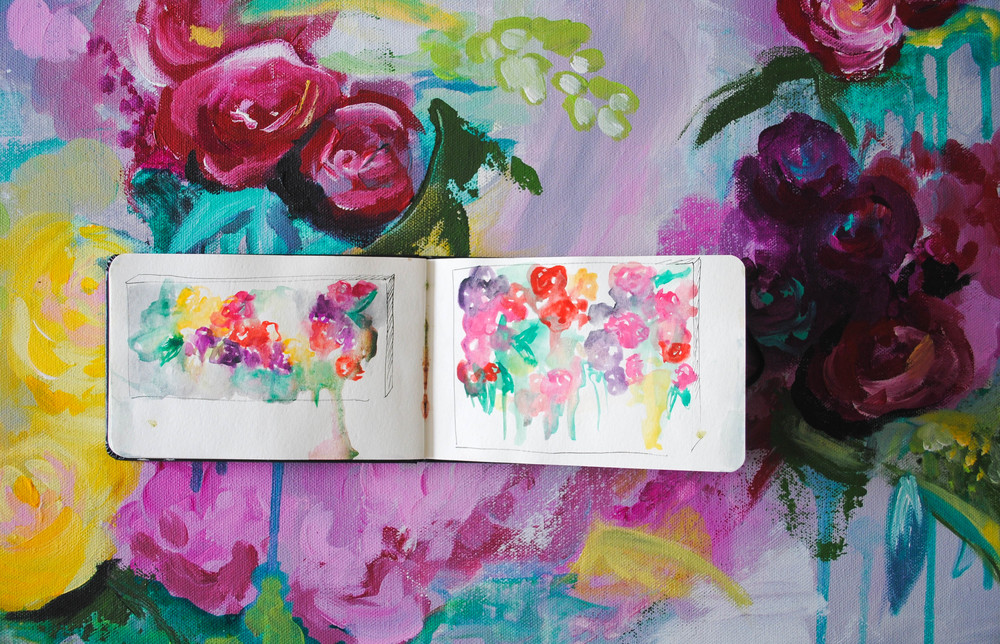 sketches + final outcome of a floral abstract commission