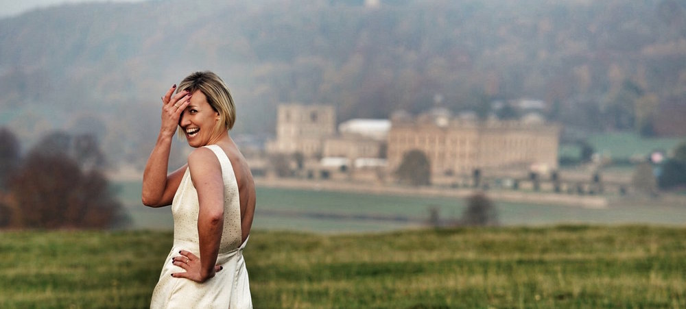 Charlie Brear wedding dress? Check. Chatsworth House in the background? Double check.