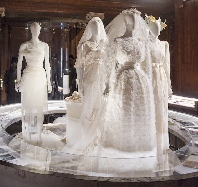 A selection of Chatsworth's wedding dresses on display at the 'House Style' exhibition in 2017.