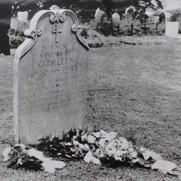 Kick Kennedy's grave at Chatsworth, with the flowers left by JFK.
