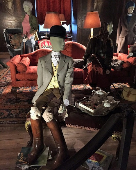 Savile Row tailors Huntsman recreated a 1924 order of Adele's for the 'House Style' exhibition at Chatsworth in 2017. You can see her old copies of Vogue on the floor.