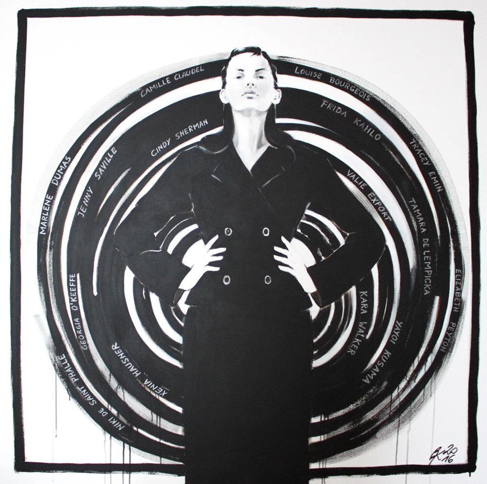 petra Kaindel, Respect! 140 x 140 cm, Acryl und Silberstift auf Leinwand, 2016