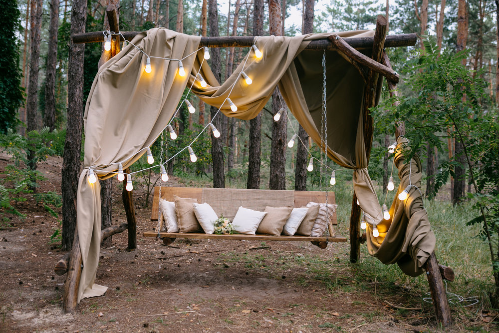 Boho chic outdoor photo booth