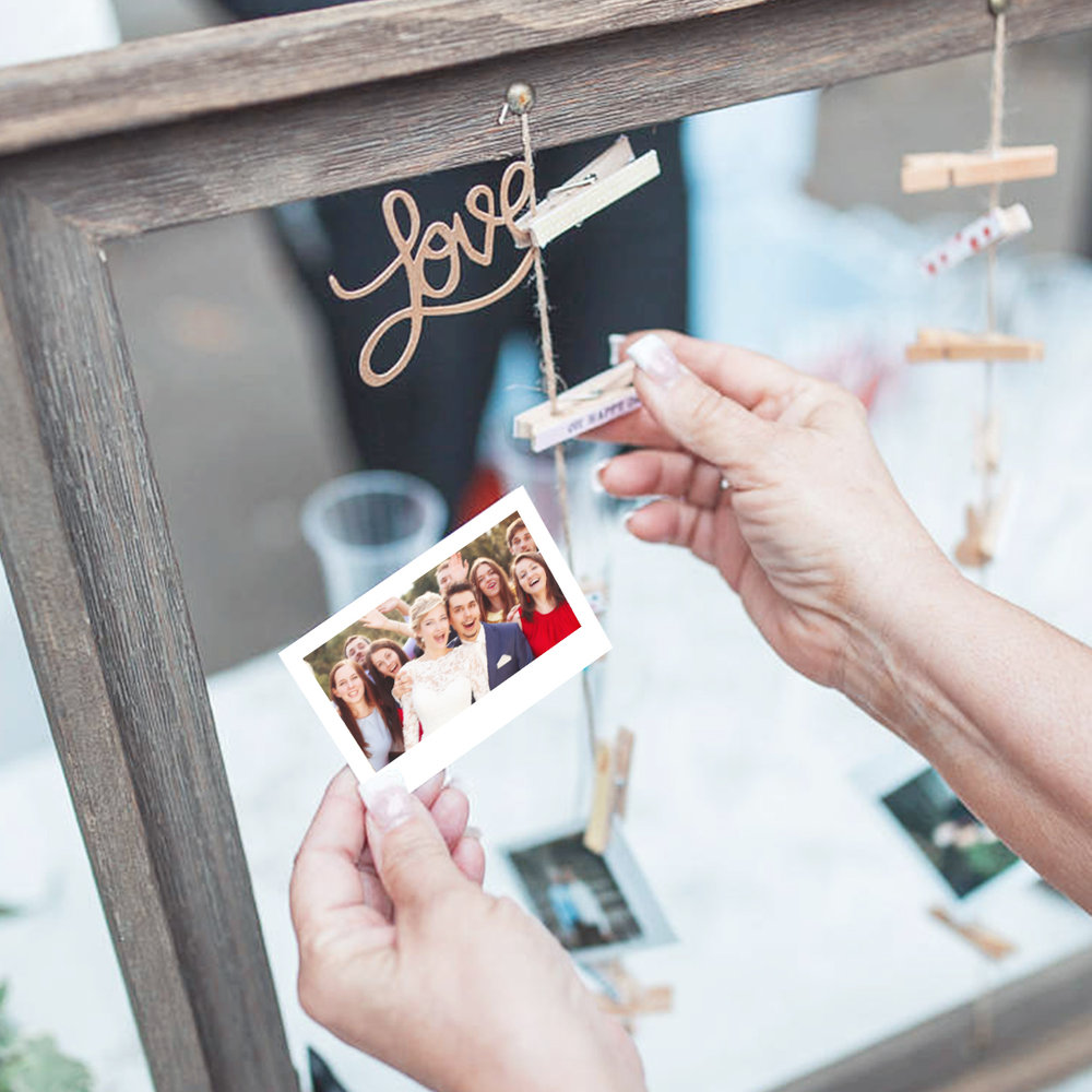 DIY photo frame with wedding pictures of your friends and family