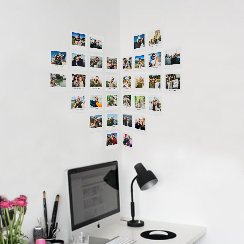 Room decor ideas using photo prints - Heart shaped wall